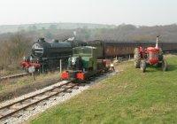 Steam train passing the Castleton Light Railway