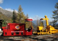 Battery electric loco and snowplough at Chateau d'Eau