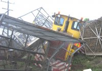 Locos 1 and 10. Level crossing where truck failed to stop. A huge mess!